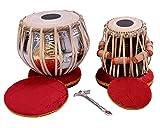 NASIR ALI Best Brand Tabla Drum Set, Colored Bayan, Finest Dayan with, Hammer, Cushions & Box