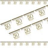 4m Wimpelkette * 50 - HAPPY YEARS * in Sparkling Gold als Deko zum 50. Geburtstag, Goldene Hochzeit oder Jubiläum // Party Set Girlande Flag Banner