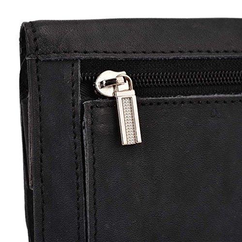 Kroo Pochette Housse Téléphone Portable en cuir véritable pour Apple iPhone 6Plus Gris noir