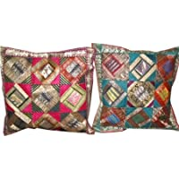 "2 Vintage Silk Pillow Shams, Pink Brocade Cushion Cover Indian Zari Borders Pillow Case 16"""