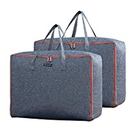 Youful Storage Bags with Zips, Duvet Storage Bag, Large Underbed Storage Bags for Clothes, Bedding, Quilt, Blankets, Moving, Made of Better and No-Smell Fabric, Laundry Bags, (Pack of 2/Grey)