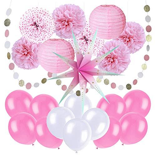Easy Joy Party Dekoration Rosa Taufe Mädchen Geburtstag Deko Set Papier Pompoms Lampions Pink (Easy Baby-dusche Dekorationen)