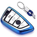 Azul Funda de TPU Suave para Llave + Llavero para Coche BMW 7 Series 5 Series X1 X3 X4 X5 X6 M5 M6 Remote Smart 3 4 Buttons