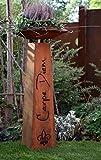 Rostikal Edelrost Metall Säule Carpe Diem mit Schale, Wohn- und Gartendeko mit Pfiff