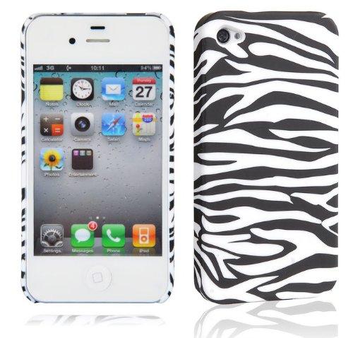 Cadorabo Hülle für Apple iPhone 4 / iPhone 4S - Hülle im Design ZEBRA - Hardcase Handyhülle mit Aufdruck - Schutzhülle Bumper Back Case Cover -