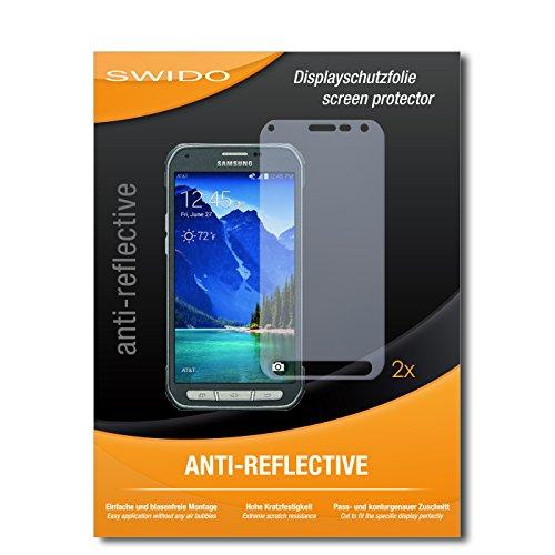 SWIDO Schutzfolie für Samsung Galaxy S6 Active [2 Stück] Anti-Reflex MATT Entspiegelnd, Hoher Härtegrad, Schutz vor Kratzer/Bildschirmschutz, Bildschirmschutzfolie, Panzerglas-Folie
