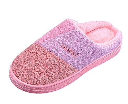 SK Studio Unisexe Tricot Chaud Pantoufles Doux Hiver Chaussons Intérieur Chaussures Maison Slippers Rose