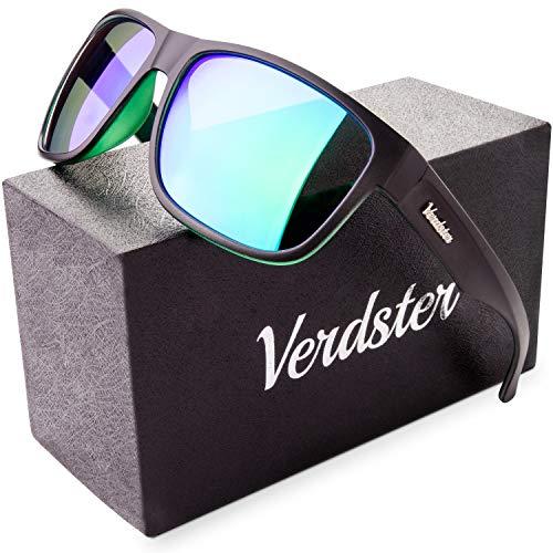Verdster Polarisierte Sonnenbrillen für Herren und Frauen - Spezielle TourDePro Gläser - Zubehöretui - UV400 Schutz - Ideal für Städtetouren (Dunkelgrün, Grün)