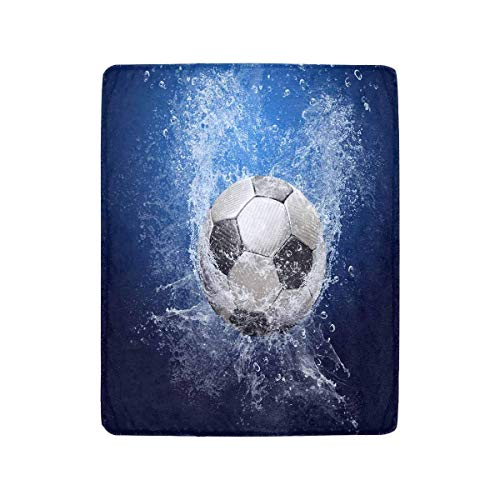 Mesllings - coperta leggera e accogliente, motivo: gocce d'acqua intorno al pallone da calcio, adatta per divano e divano, adatta per tutte le stagioni, 101,6 x 127 cm