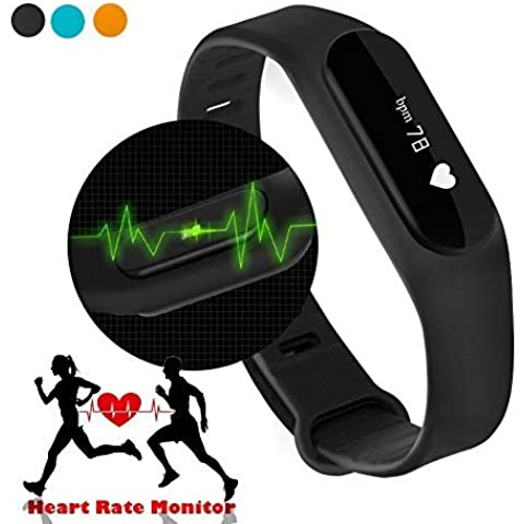 netronic frequenza cardiaca Smart Watch Bracciale, braccialetto Smart Smart Band Sports Braccialetto Smart Wristband fitness tracker orologio sportivo compatibile con Android e iOS sistema
