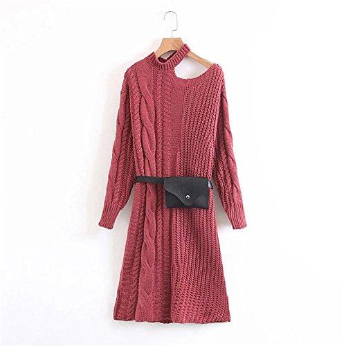 lyq Slant Schultern Long Knit Rock im Herbst und Winter europäischen und amerikanischen Stil Langarm Kleid, Red piece (Stricken Rock Textur)