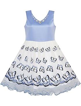 Mädchen Kleid Blume Bestickte Schmetterling Diamant Festzug Hochzeit Gr. 116-158