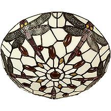 MiniSun - Tradicional plafón de techo de estilo vintage 'Tiffany' – cristal multicolor