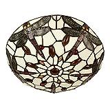 MiniSun – Traditionelle Deckenleuchte im Tiffanystil aus antikroter und cremefarbiger Glasmalerei mit einem schönen Libellendesign – Deckenleuchte