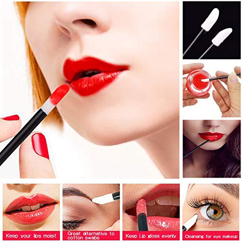 MOOKLIN 100Pcs/Set Disposable Lip Brushes,Make Up Brush Lipstick Lip Gloss Wands Applicator Perfect Makeup Beauty Tool Kits (Black)