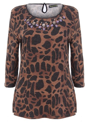 Nuovo donna marrone leopardato Gem impreziosito top manica a 3/4 Manica Sugar Crisp donna 10 12 14 16 18 Brown  X-Large