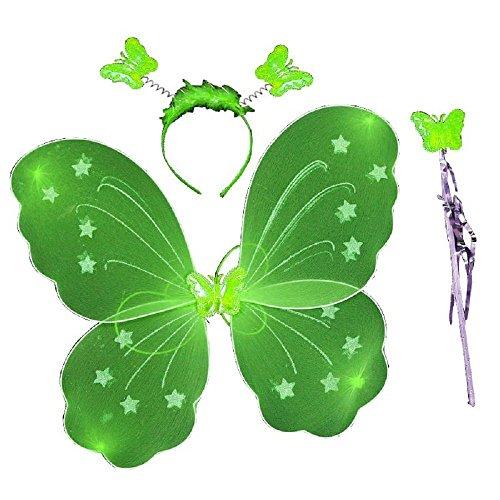 3-7 años - Conjunto de Disfraces - Traje - Mascarada - Carnaval - Halloween - Teatro - Alas de mariposa - Hadas - Diadema - Varita mágica - Verde - Niña