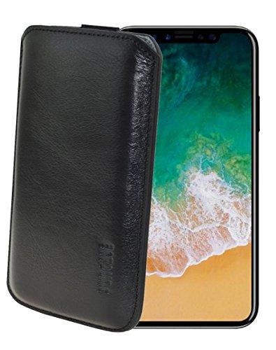iPhone X Leder Etui *Ultra Slim* Tasche Handytasche Original Suncase Ledertasche Schutzhülle Case Hülle (mit Rückzuglasche) schwarz-veloursleder schwarz