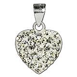 SilberDream scintillement bijoux - Pendentif coeur en argent 925 avec Zircon Shiny blanc - approprié pour colliers jusqu'à une épaisseur de 2mm - GSH203W