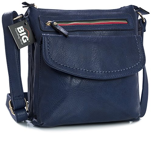 Big Handbag Shop Damen Cross-Body-Tasche aus Kunstleder Navy
