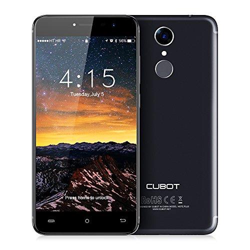 CUBOT Note Plus Smartphone 4G LTE Ohne Vertrag mit Fingerabdruck-Sensor, 5.2-Zoll-IPS-Bildschirm, Dual Rückkamera, Dual SIM Standby, Android 7.0, 3GB RAM + 32 GB ROM, Bluetooth, GPS, Wifi(Schwarz)