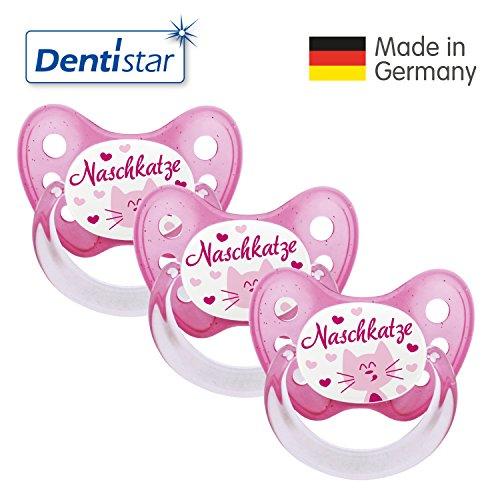 Dentistar® Schnuller 3er Set- Nuckel Silikon in Größe 2, 6-14 Monate - zahnfreundlich & kiefergerecht - Beruhigungssauger für Babys - Naschkatze