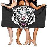 New Shorts Toalla de baño para bañera de Tigre Blanco, Suave, Ligera, Absorbente para baño, Piscina, Yoga, Pilates, Picnic, Toallas