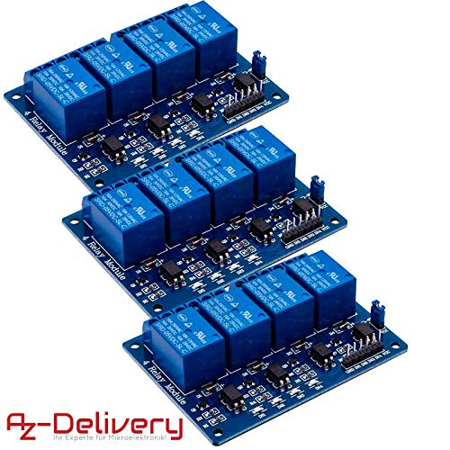 AZDelivery ⭐⭐⭐⭐⭐ 3 x 4-Relais Modul 5V mit Optokoppler Low-Level-Trigger für Arduino inklusive eBook -