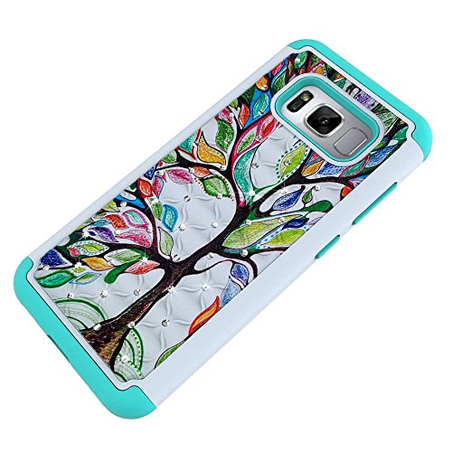 Galaxy S8 Case, Lantier Studded Rhinestone Bling Diamond Shockproof Slim Dual Layer Heavy Duty Hybrid Armor Hard Soft Silicone Shell Crystal Cover with Flower Pattern pour Samsung Galaxy S8 Arbre d'amour