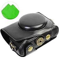 First2savvv XJPT-G7XII-01G11 Funda Cámara cuero de la PU cámara digital bolsa caso cubierta con correa para Canon PowerShot G7 X Mark II .G7X M2 negro + paño de limpieza