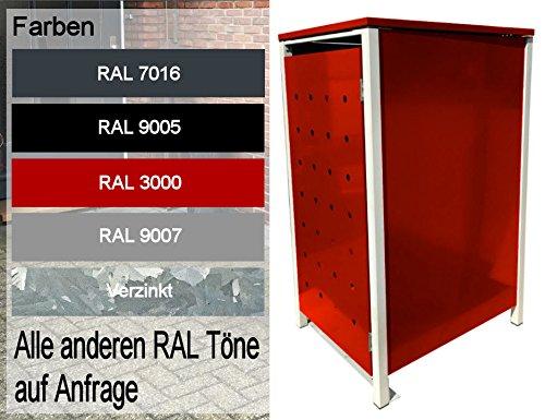 BBT@ | Hochwertige Mülltonnenbox für 1 Tonne mit 120 Liter mit Klappdeckel in Rot / Aus stabilem pulver-beschichtetem Metall / Stanzung 6 / In verschiedenen Farben sowie mit unterschiedlichen Blech-Stanzungen erhältlich / Mülltonnenverkleidung Müllboxen Müllcontainer - 7