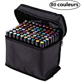 AllRight Stylos Marqueurs Set de 80 Couleurs Tactile Alcool Graphique Croquis Fine Point pour Album Photo Carte DIY Graffiti Dessin Peinture Permanent Noir