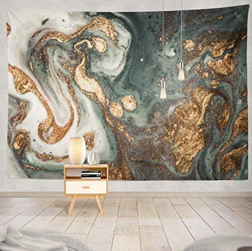 HJLHFD Tapisserie Wohnzimmer Schlafzimmer Wohnheim Marmor Zeitgenössische Kunst Golden Und Türkis Acryl Können Einladungen Dekorative Tapisserie 150X200 cm