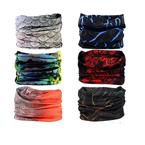 Ramanta Men's and Women's Microfiber Polyester 13 in 1 Multifunctional Headwear Bandana (Multicolour, Free Size)- Pack of 6