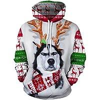 Xuanbao Sudaderas con Capucha de Navidad Sudaderas con Capucha Sudaderas con Capucha de impresión Digital suéteres con Capucha para Unisex (tamaño : Metro)