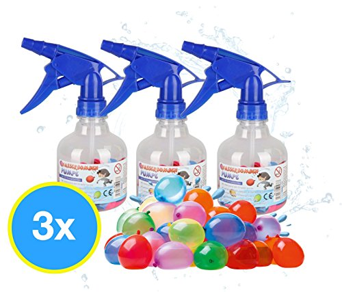TK Gruppe Timo Klingler 3X Wasserbomben Wasserballons Luftballons Set mit 3X Wasserbombenpumpen inkl. je 50x Wasserbomben Füllstation Wasserspielzeug Schnellfüller