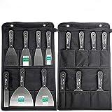 7 Stücke Schaber Spachtel Set 50# Stahl Lackputzmesser Wandschaber mit Schwarze Aufbewahrungstasche Werkzeugtasche HYGJB56
