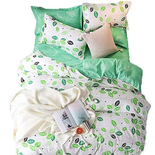 sche Natur Grün Blätter 135x200cm Bettwäsche Set, Luxus 2 Teilig Herbst Winter Bettbezug Set mit Kissenbezug (Grünes Blatt-Weißer Hintergrund, 135_x_200_cm) ()