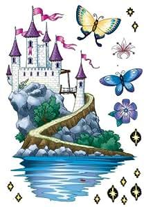 Stickers muraux - Château de conte de fées - 2 planches 345 x 490 mm