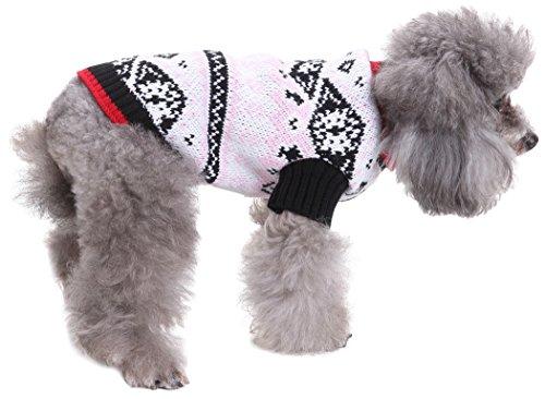 Fair-isle-rollkragen-pullover (smalllee Lucky Store Rollkragen Knit Kabel Hund Pullover Strickwaren Pullover Winter warm Coat Urlaub Pullover)