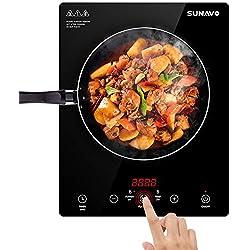 SUNAVO Plaque à Induction Portable 2000W Plaques de Cuisson Céramique 15 Niveaux de Température