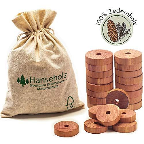 Hanseholz 40x Natürlicher Bio Mottenschutz und Baumwollbeutel - 100% Bio Naturprodukt - Langlebige und chemiefreie Mottenabwehr gegen Kleidermotten - Mottenfalle im Kleiderschrank (Zedernholz)