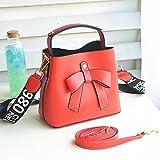 ZHANGJIA Frauen - Tasche, die Bogen, Mini - Eimer, umhängetasche, Rucksack und Handtasche,Rot - Rot