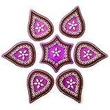 Acrylic Designer Handicraft Rangoli Modak Shape And Purple Colour–7 Pieces Of Multi Colour Stone Studded For Door/Wall/Floor Decoration/Diwali Decoration.
