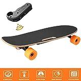 AIMADO Skateboard Électrique avec Télécommande sans Fil Planche à Roulettes PU 70mm en Érable Longboard pour Enfant et Débutant 250w 24V, Max 15km/h, 70 x 19cm (EU Stock)