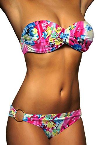 ALZORA Push Up Bandeau Twist Bikini Set Damen Pushup Badeanzug viele bunte Farben und Größen Top + Hose Set , 50001 A22