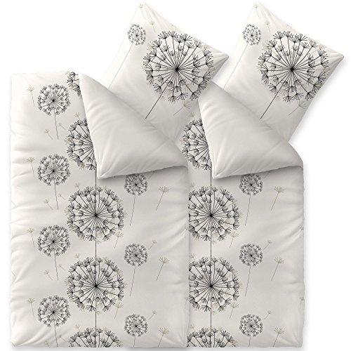 Bettwäsche 4tlg 135x200 Baumwolle Set Kopfkissen Bettbezug Reißverschluss atmungsaktiv Bett Garnitur 80x80 Kissen Bezug CelinaTex 0003957 Fashion Fancy anthrazit weiß schwarz grau Pusteblume (Bettwäsche Bereich)