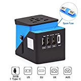 Universal Travel Adapter Plug,All in One Worldwide International Wall Charger AC Plug Adaptor with 3 USB & 1 Type-C 3.4A, European Adapter for Europe, UK, US, AU, Asia Built-in Spare Fuse(Castle-Blue)