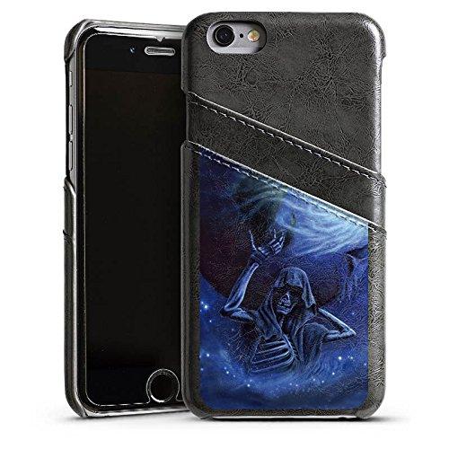 Apple iPhone 5s Housse Étui Protection Coque Crâne Os Tête de mort Étui en cuir gris