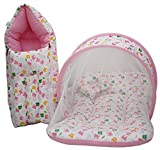 KIddosCare Baby Mattress with Mosquito Net, Sleeping Bag Combo 0-3 Months (Pink) Ideal for New born baby (Print may vary)